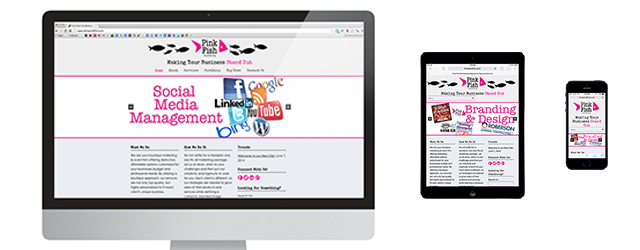 Pink Fish Marketing, Website Design, Responsive Website layout
